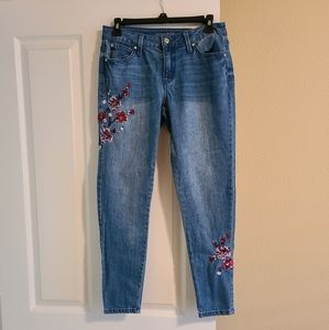 Jennifer Lopez skinny ankle embroidered jean